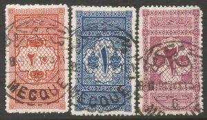 SAUDI ARABIA Hejaz 1917 Sc LJ1-3, Used set, F-VF, MECQUE cancels