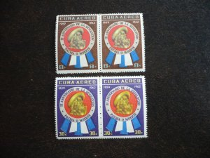 Stamps - Cuba - Scott# C226,C228 - Mint Hinged Partial Set of 2 Stamps in Pairs