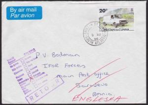 TRISTAN DA CUNHA 1996 cover to Bosnia undelivered & returned to send........6565