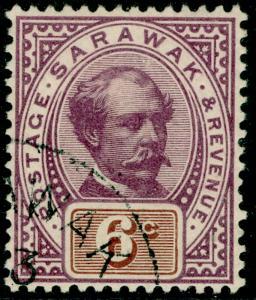 SARAWAK SG13, 6c purple & brown, VFU. Cat £65.
