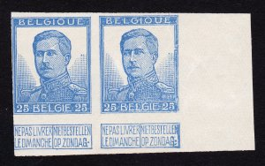 BELGIUM SCOTT #105 KING ALBERT I 25C IMPERF PAIR MH 1912