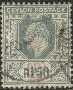 CEYLON-1905 1r50 Grey Sg 287 GOOD USED V50144