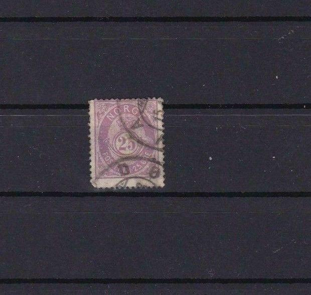 NORWAY 1877 25 ORE MAUVE   USED STAMP CAT £18 R3852