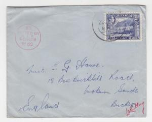 ADEN, 1940 Censor No. 62 cover, 2 1/2a. to Great Britain.