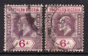 Northern Nigeria 1910 EDVII 6d BOTH shades wmk MCCA SG 35, 35a used CV £33