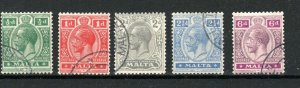 Malta 1921-22 values to 6d FU CDS