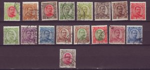 J25592 JLstamps 1920-2 iceland used #108-120,122-5 kings noted a short perf 40a