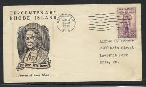 US #777-6 Rhode Island Linprint cacheted addressed