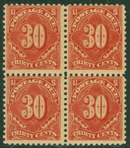 EDW1949SELL : USA 1917 Sc #J66 Blk of 4 Mint, 3 NH 1 LH Scarce PO Fresh Cat $740