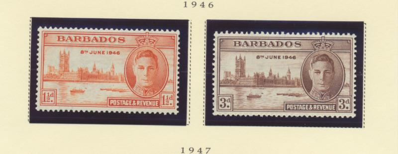 Barbados Scott #207 To 208, Mint Light Hinge Marks MLH, Two Stamp Peace With ...