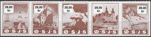 Stamp Denmark Railway Lighthouse Railroad Rodvig Sailboat OSJS Castle 28K MNH