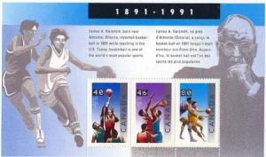 Canada - 1991 James Naismith Basketball Souvenir Sheet #1344
