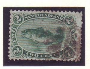 Newfoundland Sc 24 1870 2 c grn codfish stamp used