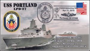 18-133, 2018, USS Portland, LPD-27, Commissioning, Pictorial, Event Cover,