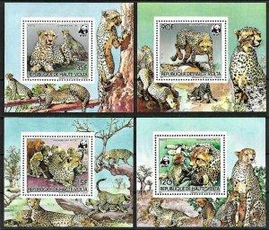1984 Upper Volta WWF, Cats, Ceethas complete set, 4 Sheets VF/MNH! LOOK! RARE!