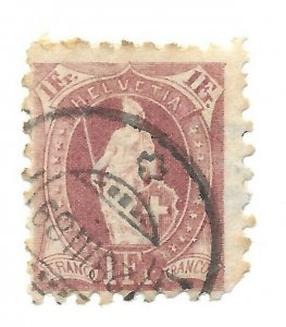 #93 Switzerland Perf, Faults - CAT $100.00 Stamp