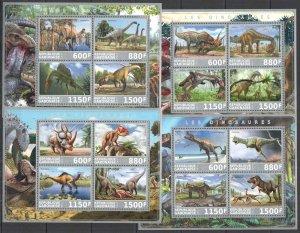 PE1197-1200 2017 GABON FAUNA PREHISTORIC ANIMALS DINOSAURS !!! 4KB MNH