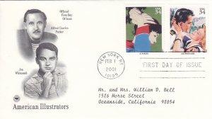 2001, American Illustrators-Parker, Whitcomb, PCS, FDC (E9217)