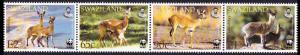 Swaziland WWF Klipspringer and Oribi Strip of 4v SG#704-707 MI#702-705