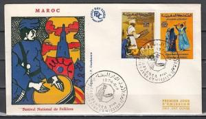 Morocco, Scott cat. 318-319. Folklore Festival issue. First day cover.