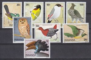 Rwanda, Scott cat. 943-950. Forest Birds & Owl issue. ^
