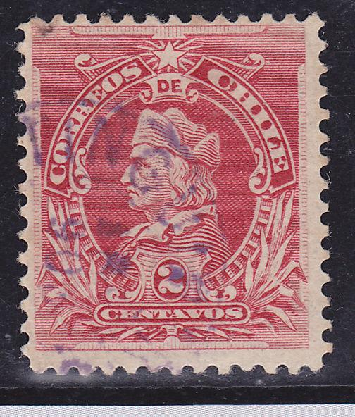CHILE VIOLET CANCEL  USED COLUMBUS STAMP