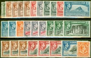Gibraltar 1938-51 Extended set of 28 SG121-131 Fine Lightly Mtd Mint CV £1060