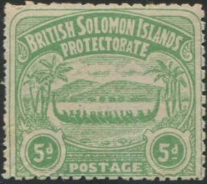 Solomon Islands 1907 SG5 5d emerald-green Canoe MLH