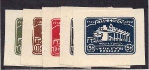 U523/U528 Mint,VLH... Short set of Cut Squares... SCV $21.90... (No 3-cent)