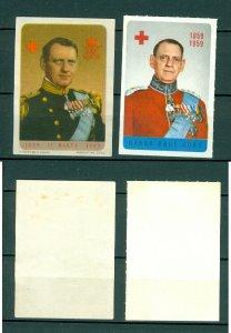 Denmark. 2 Poster Stamp. 1949-1959. King Frederik IX ( 1900-1972 )