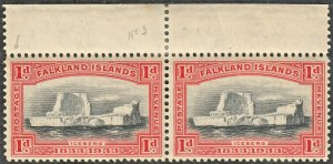 Falkland Islands 1933 KGV 1d Black & Scarlet Pair with Thick Serif Variety MUH
