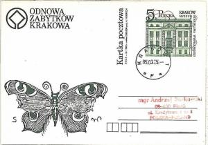 22822 -  BUTTERFLIES \ ARCHITECTURE: POLAND - POSTAL STATIONERY 1985
