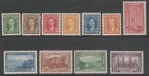 CANADA SG357/67 1937-8 DEFINITIVE SET MTD MINT