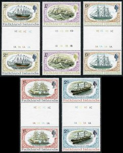 Falkland Is SG258-62 Restoration of SS Great Britain set in GUTTER PAIRS U/M
