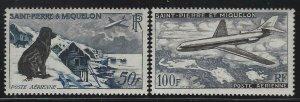 St Pierre & Miquelon 1957 Newfoundland Dog & Jet set Sc# C21-22 NH