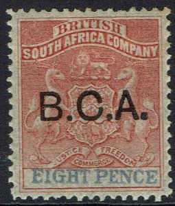 BRITISH CENTRAL AFRICA 1891 ARMS OVERPRINTED 8D
