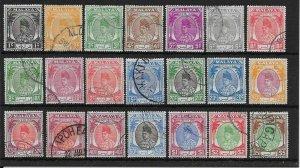 MALAYA PERLIS SG7/27 1951-5 DEFINITIVE SET USED