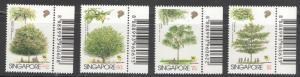 Singapore 1996 Native Trees Scott # 764 - 767 MH