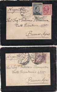 ITALY POSTAL HISTORY 1915 2 MOURNING COVERS DIFF. STAMPS PAVIA TO BUENOS AIRES