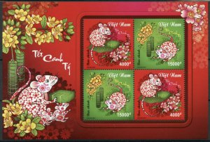 Vietnam Chinese Lunar New Year Stamps 2019 MNH Year of Rat 2020 4v M/S