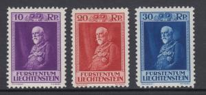 Liechtenstein Sc 111-113 MLH. 1933 Prince Francis I, cplt set, almost VF