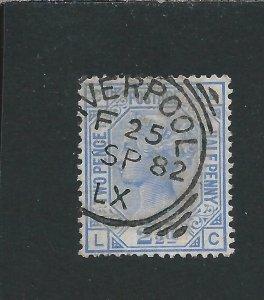 GB-QV 1880-83 2½d BLUE PLATE 22 FU PART LIVERPOOL CANCEL SG 157 CAT £45