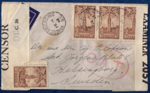 CANADA Sc 257 Postal Cover Vancouver, BC To SwedenVert.Pair 1943 Used