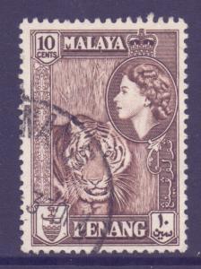 Malaya Penang Scott 50 - SG49, 1957 Tiger 10c used