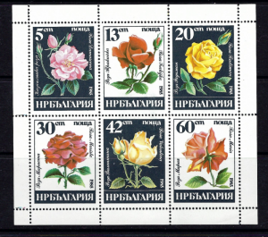 Bulgaria 3080a MNH 1985 Roses sheet of 6
