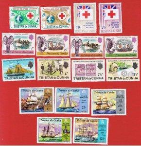 Tristan da Cunha #133-140 #153-161  MNH & MLH OG  4 sets 1970-71  Free S/H