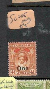 ZANZIBAR   (PP1206B)  OLD SULTAN  1A/4 1/2A    SG 205    MOG