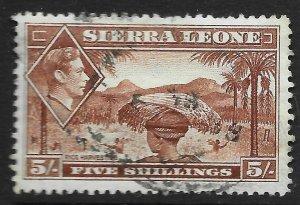 SIERRA LEONE SG198 1938 5/= RED-BROWN USED