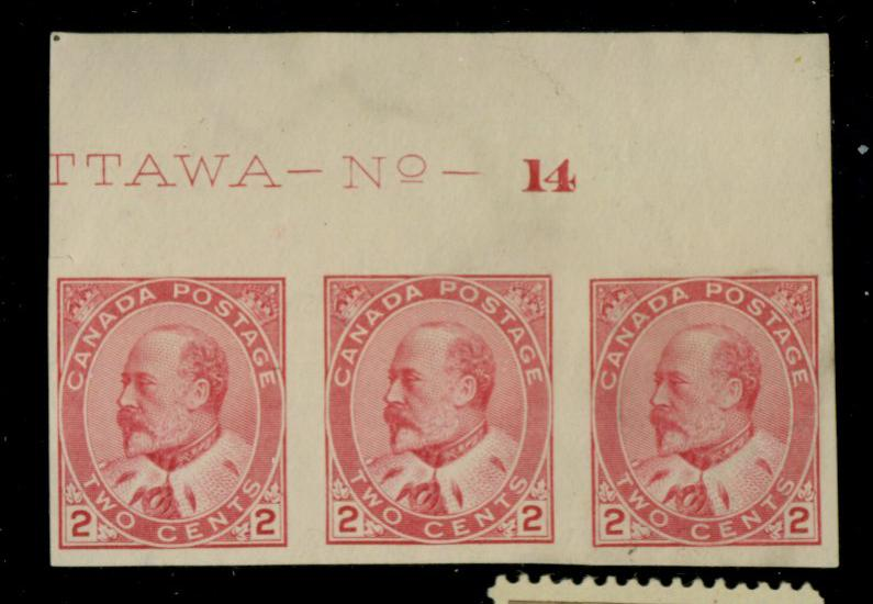 Canada #90a MINT Plate Strip of 3 F-VF No gum Cat$135+