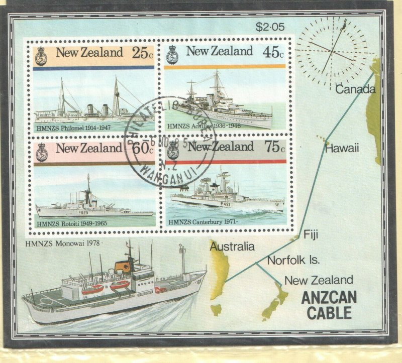1985 NEW ZEALAND - SG: MS 1383 - NAVAL HISTORY - USED